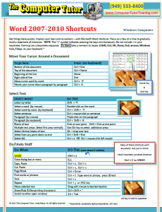 "Microsoft Word Shortcuts ""Cheat Sheet"""